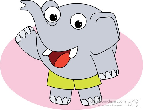 Elephant in Clothes Cartoon Clipart
